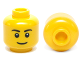 Part No: 3626cpb0628  Name: Minifigure, Head Black Eyebrows, Thin Grin, Black Eyes with White Pupils Pattern - Hollow Stud