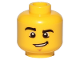 Part No: 3626cpb0857  Name: Minifigure, Head Male Black Eyebrows, Chin Dimple and Lopsided Grin Pattern - Hollow Stud