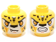 Part No: 3626cpb1164  Name: Minifig, Head Dual Sided Alien Chima Leopard with Bright Light Orange Eyes, Fangs and Black Spots, Neutral / Angry Pattern (Lundor) - Stud Recessed