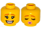 Part No: 3626cpb1189  Name: Minifig, Head Dual Sided Female Dark Orange Eyebrows, Eyelashes, Bright Pink Lips, Smile / Eyes Closed, Kissing Pattern - Stud Recessed