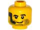 Part No: 3626cpb1193  Name: Minifigure, Head Beard Stubble, Raised Left Eyebrow, Headset and Smile Pattern - Hollow Stud