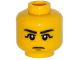 Part No: 3626cpb1232  Name: Minifigure, Head Black Eyebrows, Black Eye Shadow, Chin Dimple Pattern - Hollow Stud
