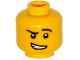 Part No: 3626cpb1233  Name: Minifigure, Head Black Eyebrows, Raised Left Eyebrow, White Pupils, Crooked Open Smile with Teeth Pattern - Hollow Stud