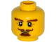 Part No: 3626cpb1253  Name: Minifigure, Head Beard Brown, Goatee, Curly Moustache, Bushy Eyebrows, Thin Smile Pattern - Hollow Stud