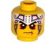 Part No: 3626cpb1289  Name: Minifigure, Head Black Eyebrows, Dark Red Eyes, Dark Purple and White Tattoo Pattern - Hollow Stud