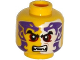 Part No: 3626cpb1296  Name: Minifigure, Head Black Eyebrows, Dark Red Eyes, Dark Purple and White Snakes Tattoo, Open Mouth with Fangs Pattern - Hollow Stud