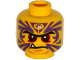 Part No: 3626cpb1297  Name: Minifigure, Head Black Eyebrows, Red Eyes, Purple Tattoo, Fang Pattern - Hollow Stud