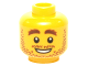 Part No: 3626cpb1305  Name: Minifigure, Head Beard Stubble, Brown Eyebrows, White Pupils, Open Smile Pattern - Hollow Stud