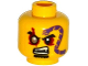 Part No: 3626cpb1325  Name: Minifigure, Head Black Eyebrows, Red Eyes with Silver Pupil Right, Goatee, Purple Snake Tattoo, Open Mouth with Fangs Pattern - Hollow Stud