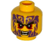 Part No: 3626cpb1327  Name: Minifigure, Head Black Eyebrows, Dark Red Eyes, Dark Purple Tattoos, Open Mouth with Fangs Pattern - Hollow Stud