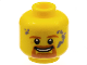 Part No: 3626cpb1466  Name: Minifigure, Head Brown Eyebrows, Goatee and Moustache, White Pupils, Gray Soot Marks Pattern - Hollow Stud