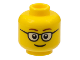 Part No: 3626cpb1507  Name: Minifigure, Head Glasses Rounded with Brown Thin Eyebrows, Smile Pattern - Hollow Stud