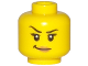 Part No: 3626cpb1746  Name: Minifigure, Head Female with Black Eyebrows with One Eyebrow Raised, Eyelashes, Peach Lips, Smirk Pattern - Hollow Stud
