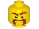 Part No: 3626cpb1747  Name: Minifigure, Head Beard Brown Bushy, Moustache, Eyebrows with One Eyebrow Raised, White Pupils Pattern - Hollow Stud