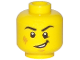 Part No: 3626cpb1769  Name: Minifigure, Head Black Eyebrows, White Pupils, Cheek Scuff, Open Mouth Smile Pattern - Hollow Stud
