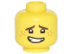 Part No: 3626cpb1872  Name: Minifigure, Head Dark Brown Eyebrows, Dark Orange Freckles, Open Mouth Crooked Smile Pattern (Jay) - Hollow Stud