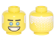 Part No: 3626cpb1876  Name: Minifigure, Head Black Straight Eyebrows, Dark Azure Eyes, Wide Open Mouth Grin, White Hair on Back Pattern (Zane) - Hollow Stud