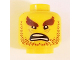 Part No: 3626cpb1918  Name: Minifig, Head Beard Reddish Brown Stubble, Reddish Brown Bushy Eyebrows, Wrinkes, Open Mouth Scowl - Stud Recessed