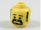 Part No: 3626cpb1937  Name: Minifig, Head Black Eyebrows, Sideburns and Goatee, Scared Pattern - Stud Recessed
