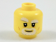 Part No: 3626cpb1960  Name: Minifig, Head Beard Gray and White, Thick Eyebrows, Right Raised Eyebrow, Dark Orange Cheek Lines Pattern - Stud Recessed
