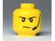 Part No: 3626cpb2280  Name: Minifigure, Head Angry Eyebrows and Scowl, Headset, White Pupils Pattern - Hollow Stud