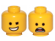 Part No: 3626cpb2284  Name: Yellow Minifigure, Head Dual Sided Winking Smile / Open Mouth Scared Pattern (Emmet) - Hollow Stud