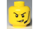 Part No: 3626cpb2292  Name: Minifigure, Head Angry Eyebrows and Scowl with Open Mouth, Headset, White Pupils Pattern - Hollow Stud
