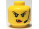 Part No: 3626cpb2294  Name: Minifigure, Head Female Black Eyebrows, Headset, Red Lips with Open Mouth, Crooked Smile / Scowl Pattern - Hollow Stud