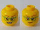 Part No: 3626cpb2377  Name: Minfigure, Head Dual Sided Female Green Glasses, Smile / Closed Mouth Pattern - Hollow Stud