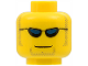 Part No: 3626cpx299  Name: Minifigure, Head Glasses with Dark Blue Sunglasses, Closed Mouth, Light Brown Sideburns and Goatee Pattern - Hollow Stud