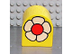 Part No: 3664pb09  Name: Duplo, Brick 2 x 2 x 2 Curved Top with White Flower with Red Center Pattern