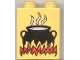 Part No: 4066pb046  Name: Duplo, Brick 1 x 2 x 2 with Cooking Pot on Flames Pattern