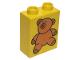 Part No: 4066pb082  Name: Duplo, Brick 1 x 2 x 2 with Brown Teddy Bear Pattern