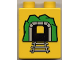 Part No: 4066pb084  Name: Duplo, Brick 1 x 2 x 2 with Train Tunnel Wide and Square with Black Tunnel Pattern