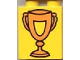 Part No: 4066pb085  Name: Duplo, Brick 1 x 2 x 2 with Trophy Cup with Shield, Orange Pattern