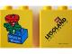 Part No: 4066pb297  Name: Duplo, Brick 1 x 2 x 2 with Bricks in Bloom Red Flower on Blue Brick Pattern (Stickered)