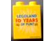 Part No: 4066pb343  Name: Duplo, Brick 1 x 2 x 2 with Legoland 10 YEARS OF FUN! Pattern