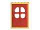 Part No: 4071c02  Name: Door Frame 2 x 6 x 7 with Red Fabuland Door 1 x 6 x 7 with Round Pane in 4 Sections (4071 / 4072)