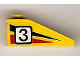 Part No: 4286pb012R  Name: Slope 33 3 x 1 with Black Number 3 on Black and Red Stripes Pattern Model Right (Sticker) - Set 6539