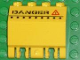 Part No: 44572pb002  Name: Hinge Panel 2 x 4 x 3 1/3 Locking Dual 2 Fingers with 'DANGER' and Red Warning Triangle Pattern (Sticker) - Aquaraiders II