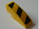 Part No: 50950pb050R  Name: Slope, Curved 3 x 1 No Studs with Black and Yellow Danger Stripes Pattern, Model Right (Sticker) - Set 8043