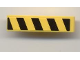 Part No: 61678pb007L  Name: Slope, Curved 4 x 1 No Studs with Black and Yellow Danger Stripes Pattern Left (Sticker) - Set 7968