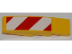 Part No: 61678pb032L  Name: Slope, Curved 4 x 1 No Studs with Large Red and White Danger Stripes Pattern (Small Red Corners) Model Left Side (Sticker) - Set 7746