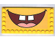 Part No: 6178pb004  Name: Tile, Modified 6 x 12 with Studs on Edges with SpongeBob SquarePants Open Mouth Smile Pattern (Sticker) - Set 3826