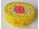 Part No: 6203pb15  Name: Scala Utensil Oval Case with Pink Flower on Front, Mirror on Inside Lid and Red Dots on Light Yellow Pattern on Both Sides (Stickers) - Set 3119