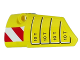 Part No: 64683pb034  Name: Technic, Panel Fairing # 3 Small Smooth Long, Side A with '10 T' and Red and White Danger Stripes Pattern (Sticker) - Set 42009