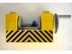 Part No: 73037pb01  Name: String Reel Winch 2 x 4 x 2 (Light Gray Drum) with Black and Yellow Danger Stripes Pattern (Sticker) - Set 6361