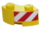 Part No: 85080pb02R  Name: Brick, Round Corner 2 x 2 Macaroni with Stud Notch and Reinforced Underside with Red and White Danger Stripes on Right Pattern (Sticker) - Set 60152