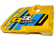 Part No: 87086pb021  Name: Technic, Panel Fairing # 2 Small Smooth Short, Side B with 'QB 42034' on Blue, Yellow and Black Background Pattern (Sticker) - Set 42034