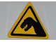 Part No: 892pb021  Name: Road Sign Clip-on 2 x 2 Triangle with Black T. rex Pattern (Sticker) - Set 5887
